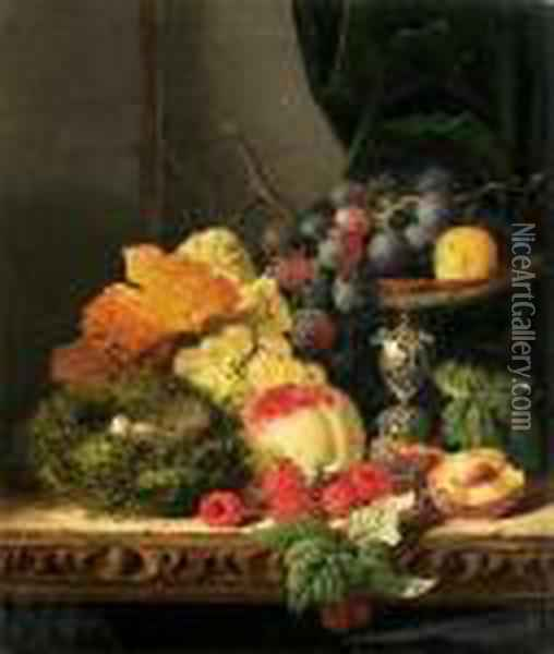 Still Life With Fruit, Leaves And A Bird's Nest On A Ledge Oil Painting - Edward Ladell