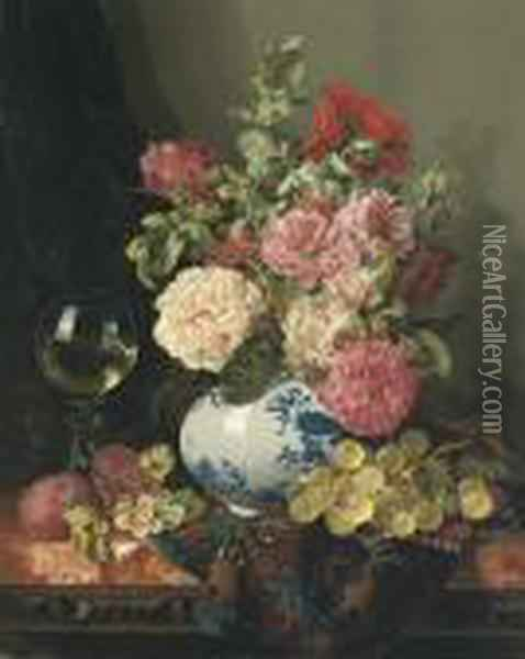 Mixed Flowers In A Chinese Vase With Grapes And A Wine Roemer Oil Painting - Edward Ladell