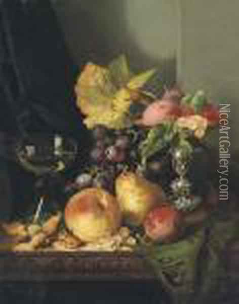Plums, Raspberries And White Currants In A Tazza Oil Painting - Edward Ladell
