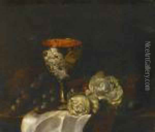 Still Life With Roses, Grapes And Cup Oil Painting - Edward Ladell