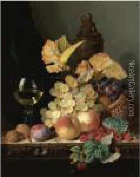 Still Life With Peaches, Plums, Grapes And Walnuts On A Carvedtable With A Wine Glass Oil Painting - Edward Ladell
