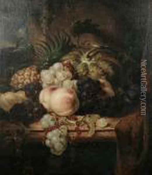 Still Life Of Mixed Fruit On A Ledge Oil Painting - Edward Ladell
