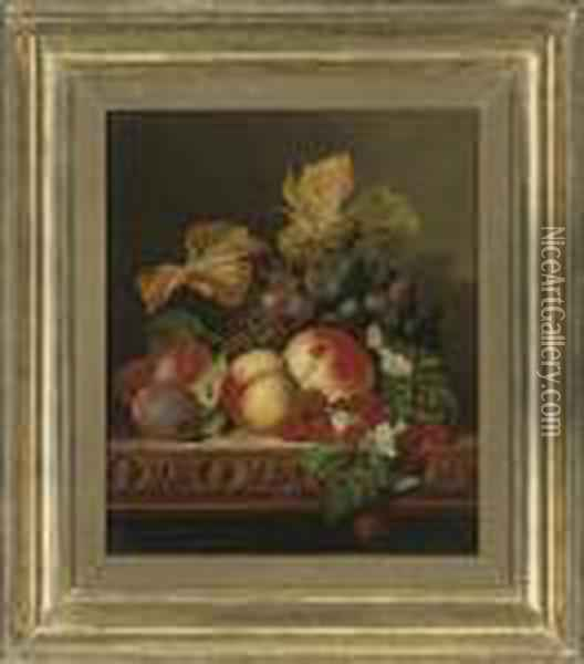 Raspberries, Plums, Peaches And Grapes On A Carved Wooden Ledge Oil Painting - Edward Ladell