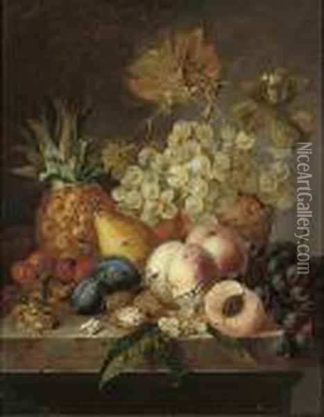Grapes, Peaches, Cherries, Walnuts, Hazelnuts, A Pear And A Pineapple On A Ledge Oil Painting - Edward Ladell