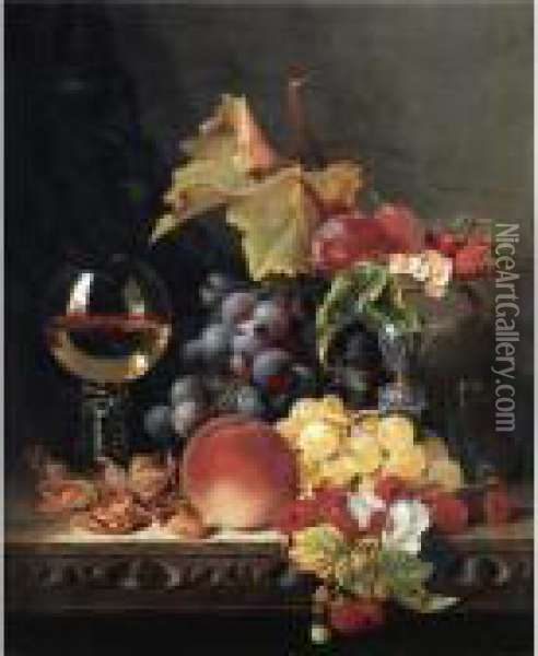 Still Life With A Wine Goblet And Silver Tazza, Grapes, Berries, Plums And Hazlenuts Oil Painting - Edward Ladell