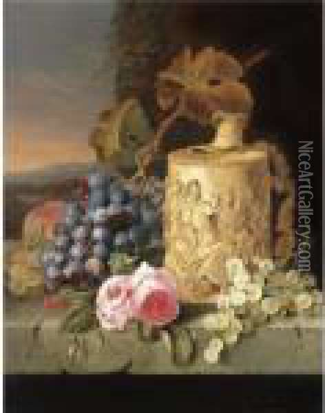 Still Life With Grapes, Roses And A Stein On A Marble Ledge Oil Painting - Edward Ladell