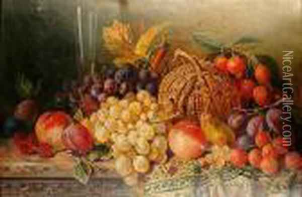 A Still Life Of Fruit And A Glass Of Wine On A Ledge Oil Painting - Edward Ladell