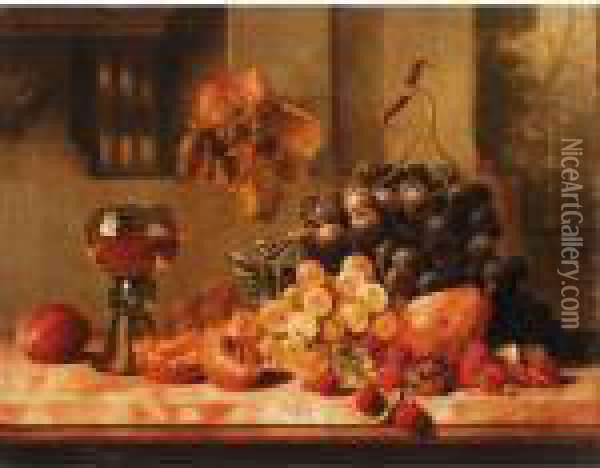 Still Life Of Grapes And Raspberry's Oil Painting - Edward Ladell
