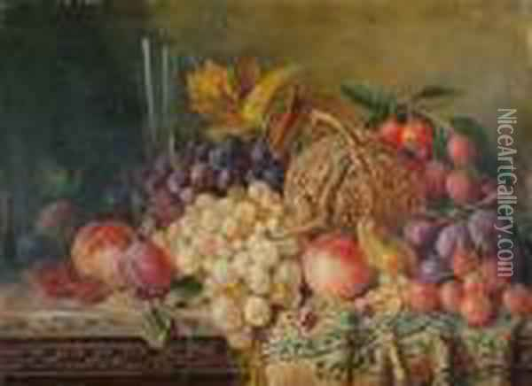 A Still Life Of Fruit And A Glass Of Wine On A Ledge. Oil Painting - Edward Ladell