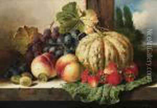 A Still Life With Fruit On A Window Ledge Oil Painting - Edward Ladell