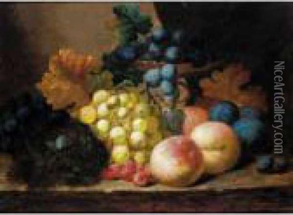 Still Life With Fruit, A Bird Nest And A Ladybird Oil Painting - Edward Ladell