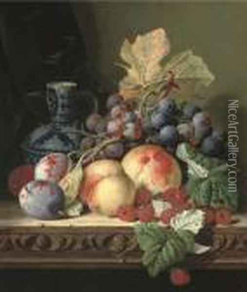 Plums, Peaches, Raspberries, Grapes And A Stoneware Jug On A Carvedtable Oil Painting - Edward Ladell