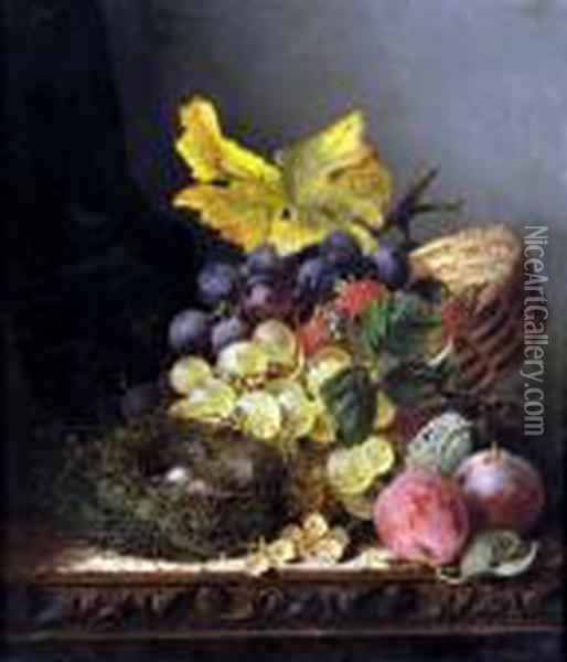 Still Life, Birds Nest And Ripe Peaches, Grapes And Strawberries Oil Painting - Edward Ladell