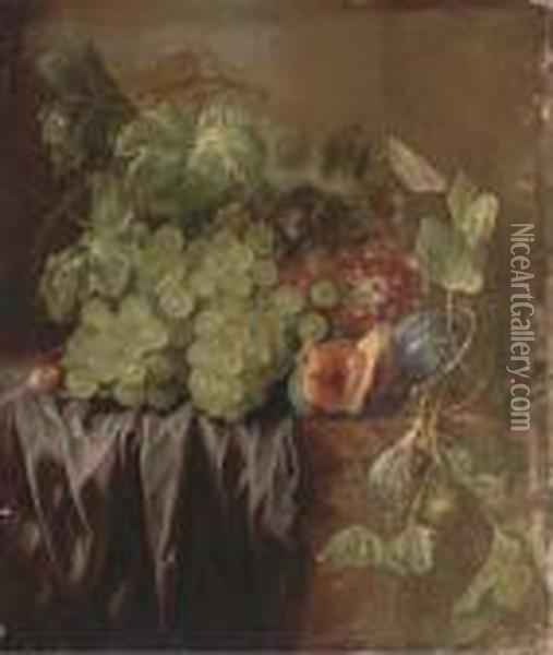 Grapes, Figs, An Acorn And A Drape On A Ledge Oil Painting - Edward Ladell