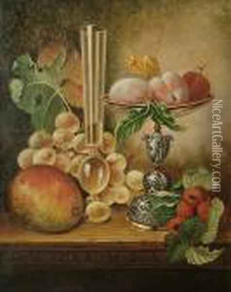 Still Life Of Fruit, A Tazza And A Glass Oil Painting - Edward Ladell