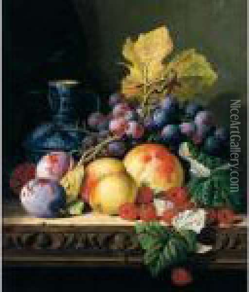 Still Life With A Stoneware Jug,  Peaches, Raspberries, Plums And Grapes On A Carved Ledge Oil Painting - Edward Ladell
