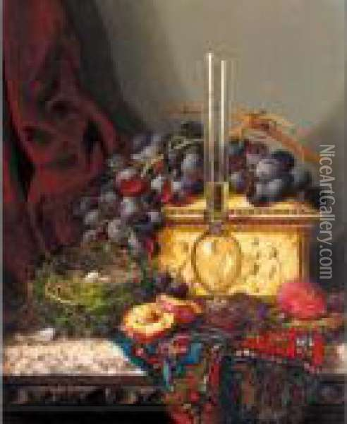 Still Life With Fruit, Birds Nest, Glass Vase And Casket Oil Painting - Edward Ladell