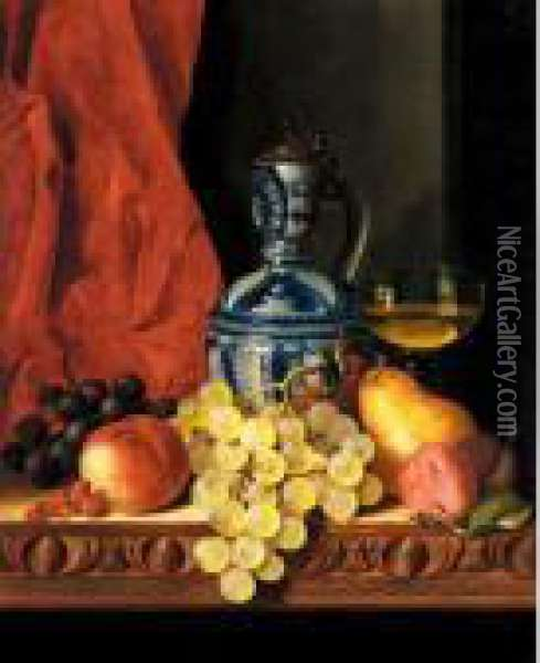 Still Life With Grapes, A Peach,