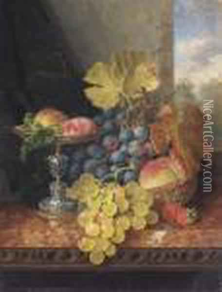 Still Life With Plums In A Silver Tazza Oil Painting - Edward Ladell