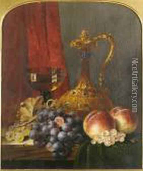 Still Life With Assorted Fruit, A Jug And A Glass Of Wine, On A Ledge Oil Painting - Edward Ladell