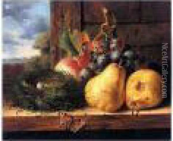 Still Life With A Bird's Nest, Butterfly And Fruit Oil Painting - Edward Ladell