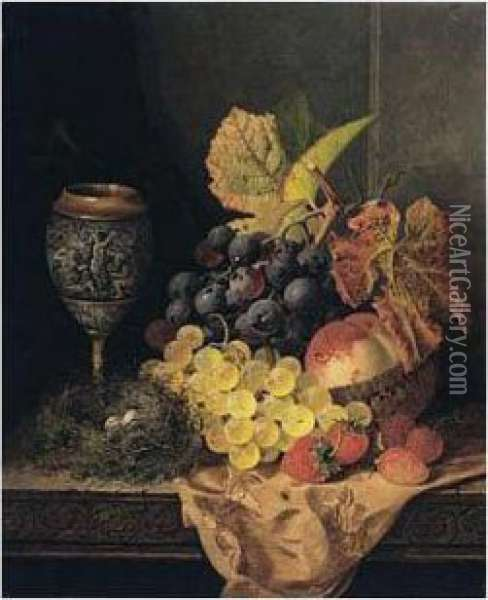 Still Life With Fruit, Bird's Nest And A Goblet Oil Painting - Edward Ladell