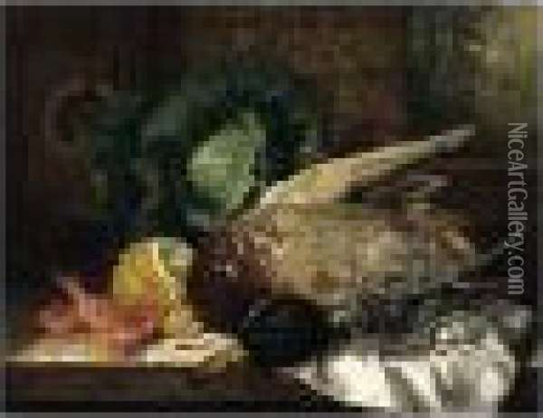 Still Life With Duck, Glass, Cabbage, Lemon And Prawns Oil Painting - Edward Ladell
