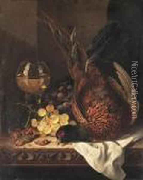 Still Life With A Pheasant, Grapes, Hazelnuts And A Hock Glass On Awooden Ledge Oil Painting - Edward Ladell
