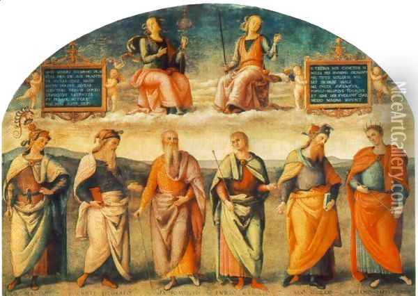 Prudence and Justice with Six Antique Wisemen Oil Painting - Pietro Vannucci Perugino