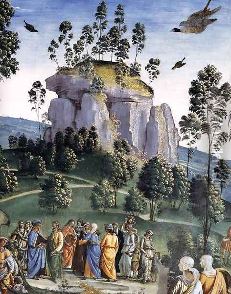 Moses's Journey into Egypt and the Circumcision of His Son Eliezer (detail-5) c. 1482 Oil Painting - Pietro Vannucci Perugino