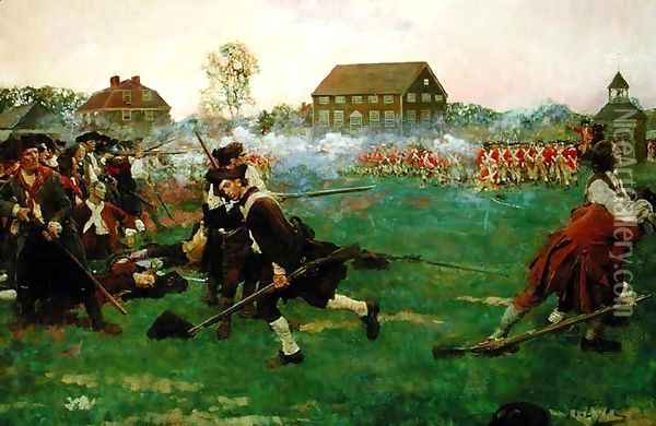 The Fight on Lexington Common, April 19, 1775, from 'The Story of the Revolution by Woodrow Wilson 1856-1924, published in Scribners Magazine, January 3, 1898 Oil Painting - Howard Pyle