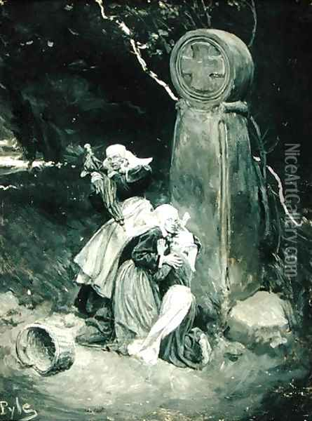 Breton Peasants at a Wayside Cross, from The Pardon of St. Anne dAuray by William Perry Northrup, published in Scribners Magazine, September 1901 Oil Painting - Howard Pyle