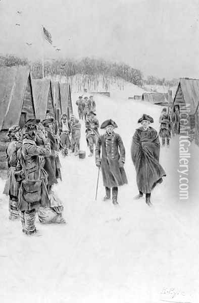 Washington and Steuben at Valley Forge, published in Harpers Magazine, July 1896 Oil Painting - Howard Pyle
