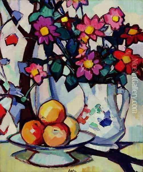 Still life of dahlias and fruit, c.1910-12 Oil Painting - Samuel John Peploe