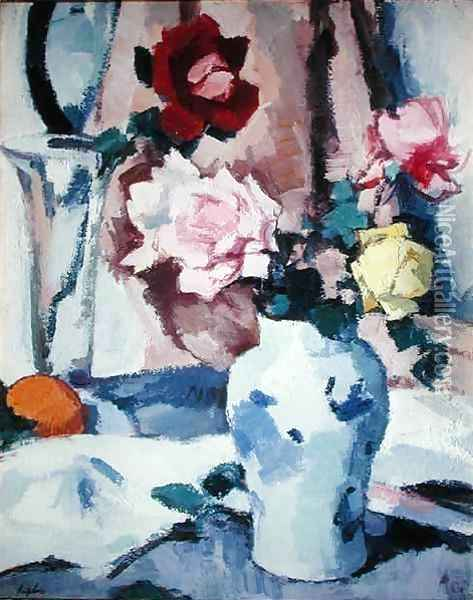 Roses in a Blue and White Vase Oil Painting - Samuel John Peploe