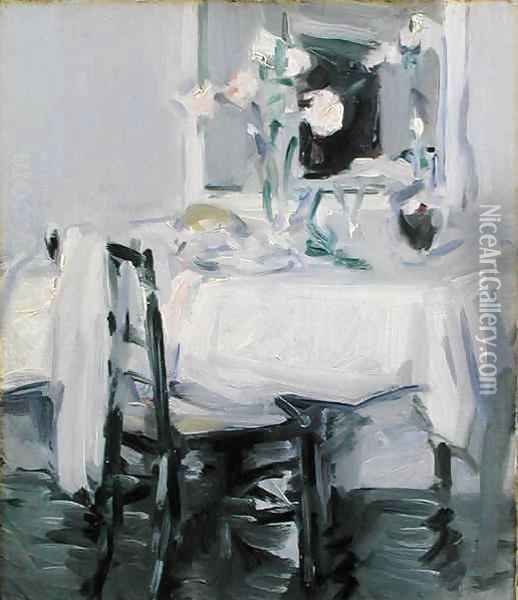 An Interior with Roses in a Vase on a Table Oil Painting - Samuel John Peploe