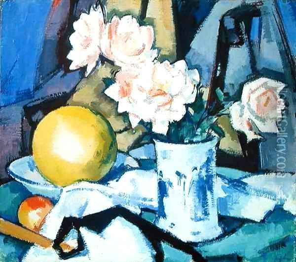 Blue and White Vase, Roses, Melon and Orange Oil Painting - Samuel John Peploe