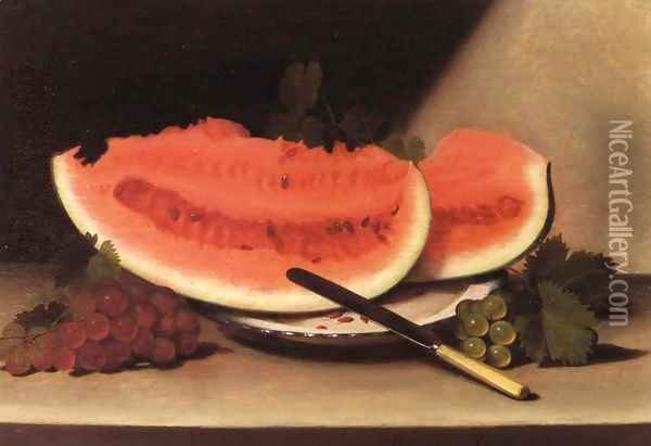 Still Life with Watermelon II Oil Painting - Raphaelle Peale