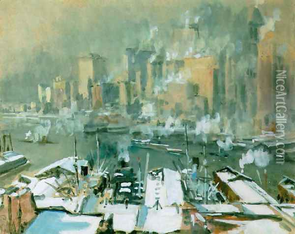 A view of New York City in winter Oil Painting - Joseph Pennell