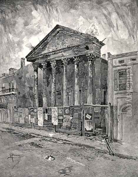 The Old Bank in Toulouse Street, New Orleans, from The Century Illustrated Monthly Magazine, May to October, 1883 Oil Painting - Joseph Pennell