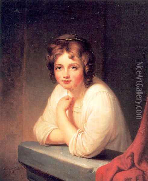 Girl at a Window (Rosalba Peale) 1846 Oil Painting - Rembrandt Peale