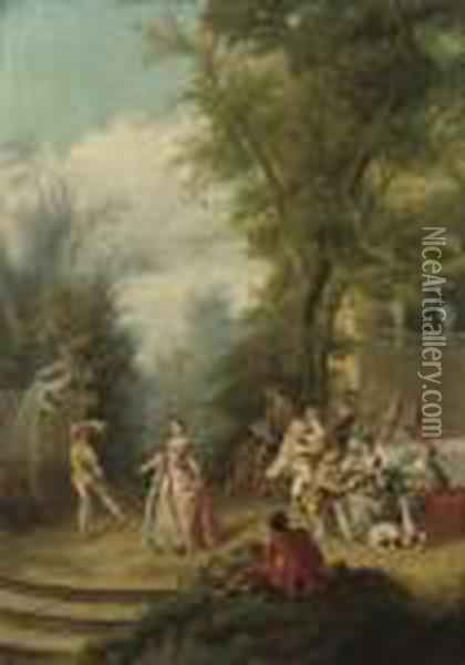 A Fete Champetre With Figures By A Fountain Oil Painting - Nicolas Lancret