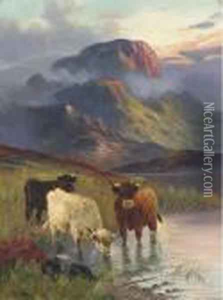 Cattle Watering, Sunset Oil Painting - William Langley