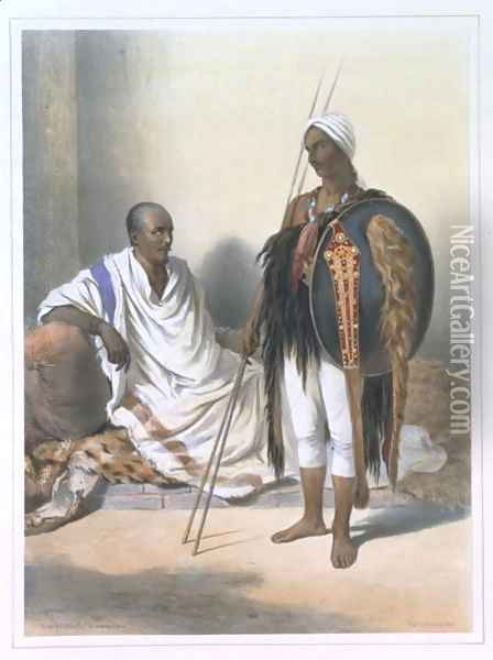 Abyssinian Priest and Warrior, illustration from The Valley of the Nile, engraved by Lemoine, pub. by Lemercier, 1848 Oil Painting - Emile Prisse d'Avennes