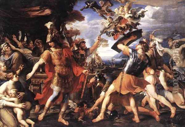 Aeneas and his Companions Fighting the Harpies 1646-47 Oil Painting - Francois Perrier