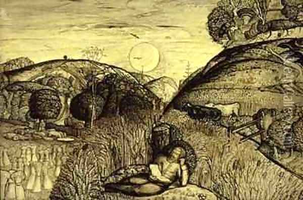 Valley Thick with Corn Oil Painting - Samuel Palmer