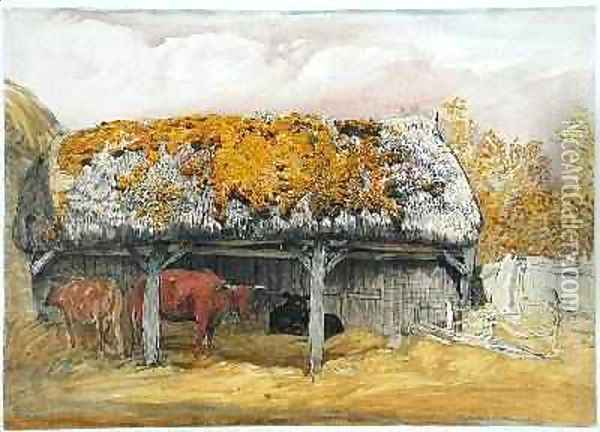 A Cow Lodge with a Mossy Roof, c.1829 Oil Painting - Samuel Palmer