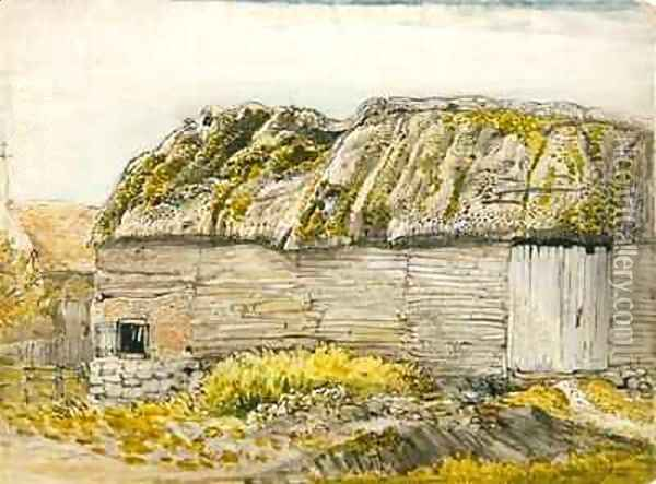 A Barn with a Mossy Roof, Shoreham Oil Painting - Samuel Palmer