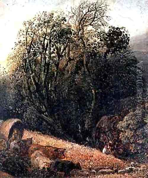 A Cornfield Bordered by Trees Oil Painting - Samuel Palmer