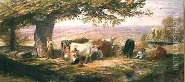 Milking in the Fields Oil Painting - Samuel Palmer